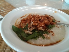 My favorite breakfast menu: Bubur Ayam (chicken porridge topped with fried shallots, green onion, sambal, and a little bit of soy sauce).