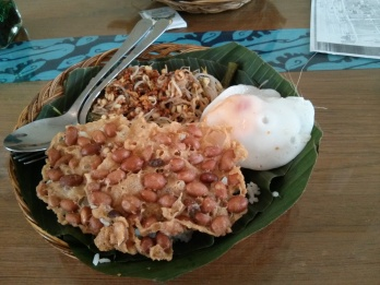 A big time favorite: Nasi Pecel (white rice topped with peanut crackers, vegetables, over easy egg, and peanut sauce).