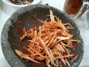 """To die for"": Sambal Pencit (young mango in chili paste, a condiment)"