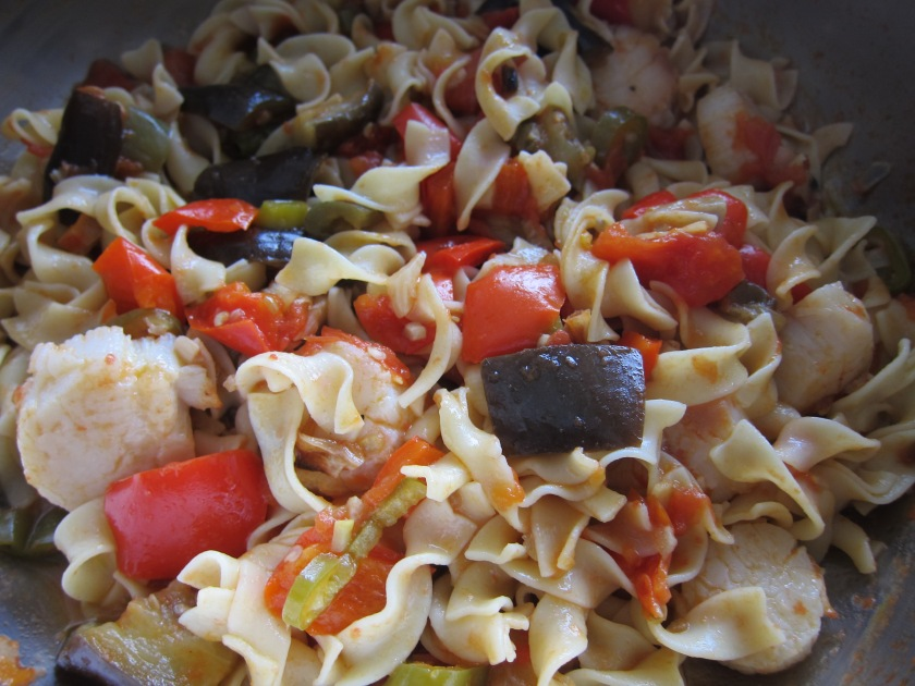 Egg Noodle with Scallops in Eggplant/Tomato Sauce by Harini