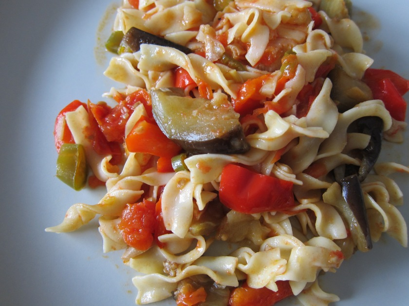 Egg Noodles with Sea Scallops in Eggplant/Tomato Sauce by Harini