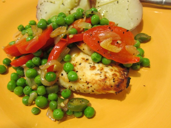 Green peas salad on top of broiled halibut by HR