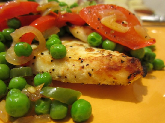 Green peas salad on broiled halibut by HR
