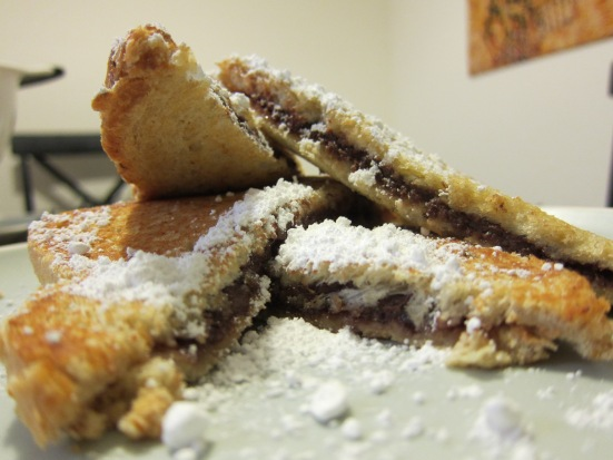 Nutella sandwich dusted with powdered sugar by Harini