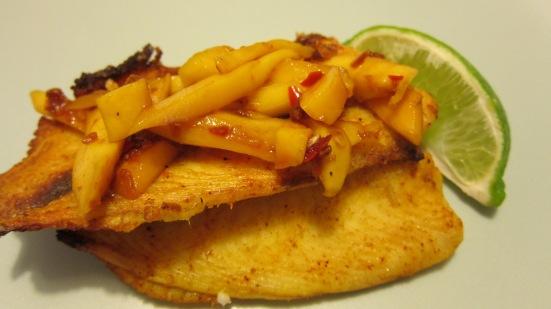 Tilapia covered by Mango Sambal