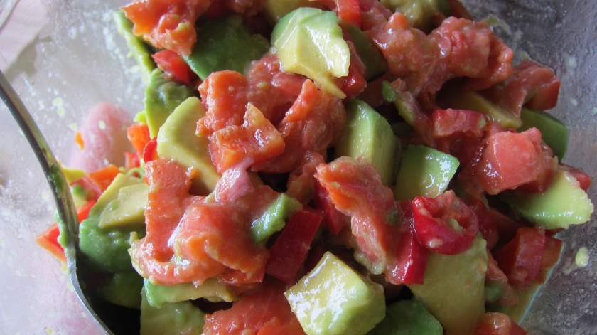 Mix the avocado, smoked salmon, and peppers TCP