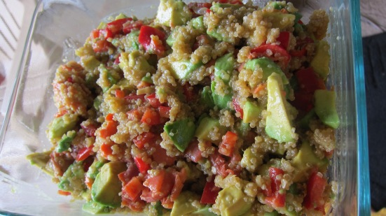 Quinoa salad with smoked salmon, avocado, and peppers by Tiny Chili Pepper