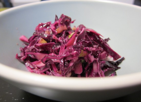 Red Cabbage Coleslaw with Green Onions and Horseradish by Tiny Chili Pepper