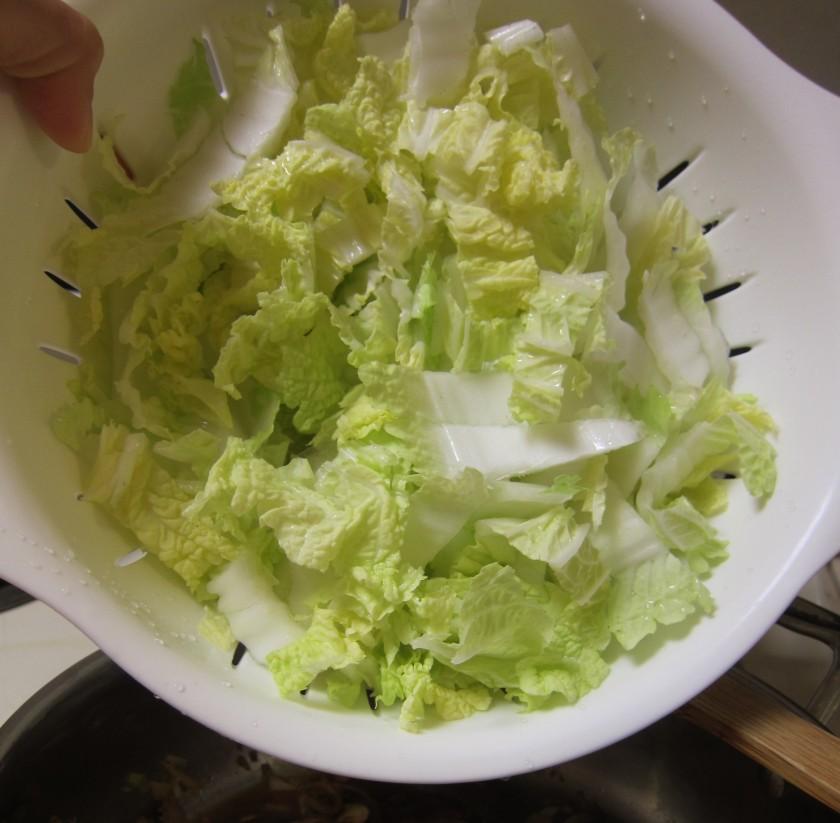sliced Napa cabbage