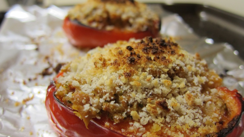 Chicken, Tofu, Vegetable Stuffed Bell Peppers by Tiny Chili Pepper